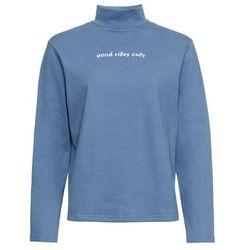"""Bluza """"Good vibes"""" bonprix niebieski dżins - pudrowy niebieski z nadrukiem"""