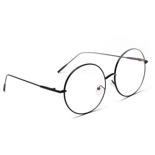 Pozostała galanteria, Okulary damskie zerówki czarne lenonki okrągłe