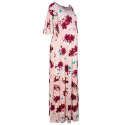 Długa sukienka ciążowa z dżerseju bonprix jasnoróżowy w kwiaty