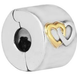 Rodowany srebrny charms pandora blokada klips kółko circle ring pozłacane serce heart srebro 925 QS0069
