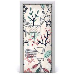 Naklejka samoprzylepna na drzwi Zwierzęta i kwiaty