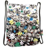 Tornistry i plecaki szkolne, Plecak na sznurkach SO-11 Flowers Black - St. Majewski