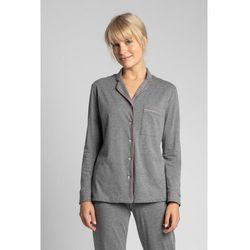 LA019 Bawełniana koszula od piżamy z kołnierzykiem - szary