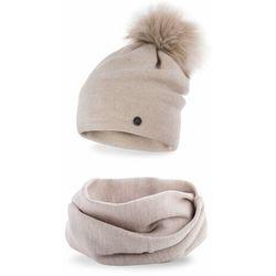 Komplet PaMaMi, czapka i komin - Beżowy
