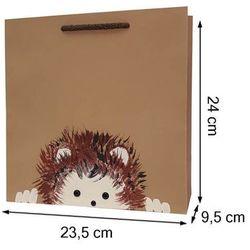 Torebka ozdobna prezentowa ręcznie malowana 24x23 - jeżyk