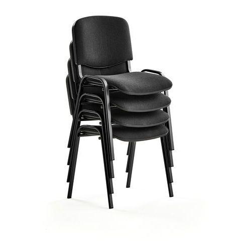 Fotele i krzesła biurowe, Krzesło konferencyjne NELSON, 4 szt., tkanina, czarny, czarny