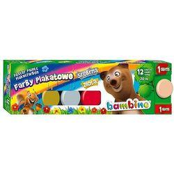 Farby plakatowe Bambino 12 kolorów 20ml + 1 farba cielista