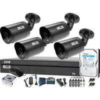Zestawy monitoringowe, Zestaw monitoringu BCS kabel UTP Rejestrator 4x BCS-TQ4203IR3-G Dysk twardy 1TB