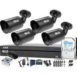 Zestaw monitoringu BCS kabel UTP Rejestrator 4x BCS-TQ4203IR3-G Dysk twardy 1TB