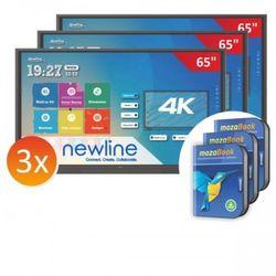 """Zestaw: 3x monitor interaktywny Newlinie TT-6518RS 65"""" + 3x mozaBook - 0 stawka VAT tylko dla szkół!"""