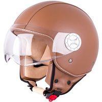 Kaski motocyklowe, Kask motocyklowy otwarty na skuter W-TEC FS-701B Leather Brown, Brown, S (55-56)