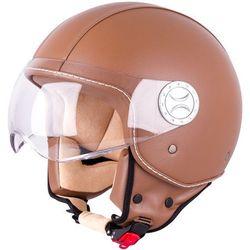 Kask motocyklowy otwarty na skuter W-TEC FS-701B Leather Brown, Brown, XL (61-62)