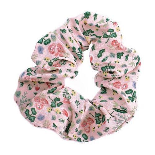 Pozostała biżuteria, Gumka do włosów różowa scrunchies kwiaty frotka