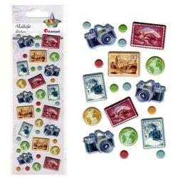 Naklejki podróże znaczki aparaty 39szt mix 0,5-2cm