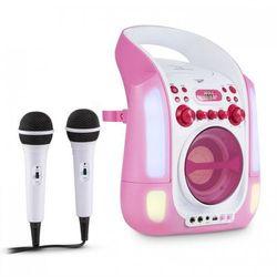 Kara Illumina zestaw karaoke CD USB MP3 pokaz świetlny LED 2 x mikrofon mobiny pink
