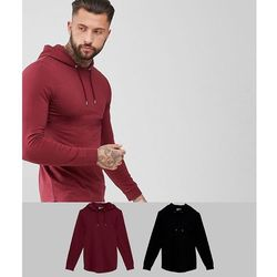 ASOS Longline Muscle Fit Hoodie 2 Pack With Curved Hem In Black/Burgundy SAVE - Multi