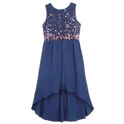 Sukienka dziewczęca na uroczyste okazje z tiulową wstawką bonprix kobaltowy
