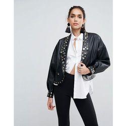 ASOS Leather Look Biker Jacket with 80's Jewel Embellishment - Black
