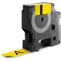 Taśmy barwiące, Taśma Dymo 19mm x7m czarny nadruk na żółtej taśmie 1szt.