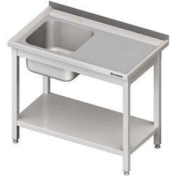 Stół ze zlewem jednokomorowym z lewej strony i półką, spawany 1200x600x850 mm | STALGAST, 614126