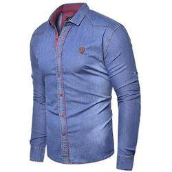 Koszula męska jeansowa długi rękaw rl15 - granatowa