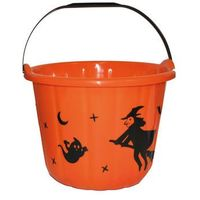 Pozostałe dekoracje, Wiaderko pomarańczowe z wiedźmą na Halloween - 19 cm - 1 szt.