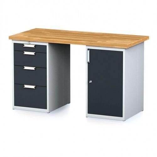 Stoły warsztatowe, Stół warsztatowy MECHANIC, 1500x700x880 mm, 1x 4 szufladowy kontener, 2x szafka, szary/antracyt
