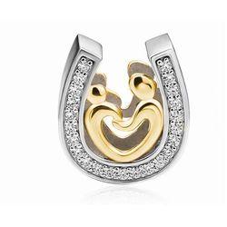 Rodowany pozłacany srebrny charms pandora matka z dzieckiem cyrkonie srebro 925 BEAD69