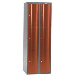 Szafa szatniowa Curve 2 sekcje 6 drzwi 1740x600x550 mm czerwony metalik