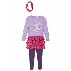 Shirt dziewczęcy + spódniczka + legginsy + opaska do włosów (4 części) bonprix bez - ciemny lila