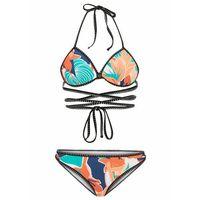 Stroje kąpielowe, Biustonosz bikini na fiszbinach bonprix różowo-ciemnoniebieski w paski