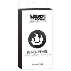 Czarne kropkowane prezerwatywy Secura Black Pearl 12 szt. 416233