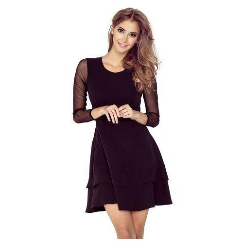Suknie i sukienki, Czarna Sukienka Wizytowa Rozkloszowana z Transparentnymi Rękawami