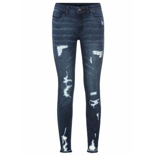 """Spodnie damskie, Dżinsy Super Skinny """"destroyed"""" w krótszej długości bonprix ciemny denim"""