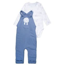 mothercare INTERLOCK WADDED STAR KNEE DUNGAREE BABY SET Body blue