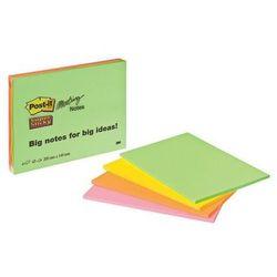 Karteczki POST-IT Super Sticky (6845-SSP), 200x149mm, 4x45 kart., mix kolorów