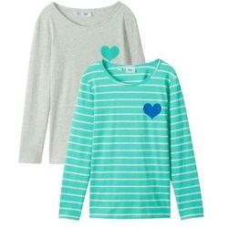 Shirt z długim rękawem (2 szt.) bonprix naturalny melanż + akwamaryna w paski