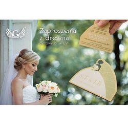 Zaproszenia ślubne z drewna - cyfrowy druk UV - ZAP006