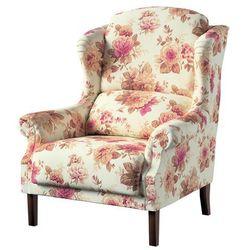 Dekoria Fotel Unique, bordowo-beżowe róze na kremowym tle, 85×107cm, Mirella