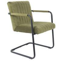 Fotele, Dutchbone Fotel STITCHED velvet oliwkowy 1200183