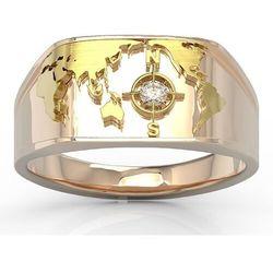 Sygnet morski z różowego i żółtego złota z brylantem sj-1406pz