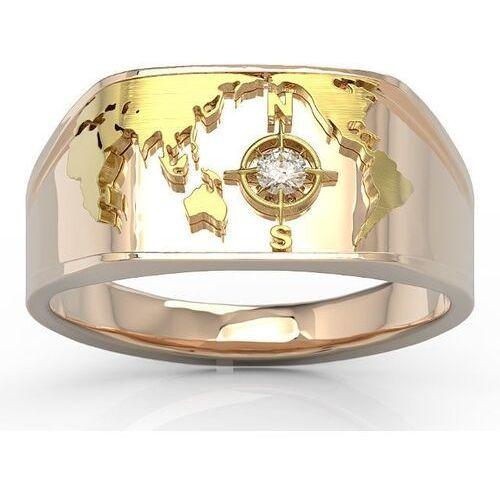 Sygnety, Sygnet morski z różowego i żółtego złota z brylantem sj-1406pz