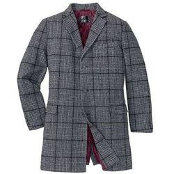 Krótki płaszcz z domieszką wełny bonprix szaro-czarny w kratę