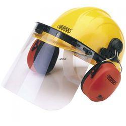 Kask ochronny ze słuchawkami i osłoną na twarz