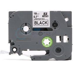Taśma do brother tze-345 czarne tło/biały nadruk 18mm x 8m zamiennik