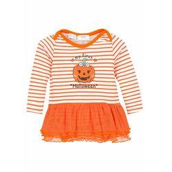 Body niemowlęce z długim rękawem i tiulową wstawką, bawełna organiczna bonprix pomarańczowo-biel wełny