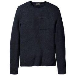 Sweter z okrągłym dekoltem i ozdobnie wywiniętymi brzegami bonprix ciemnoniebieski