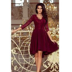 Wieczorowa asymetryczna sukienka z koronką - bordowa