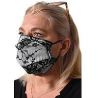 Maseczki i przyłbice ochronne, Maseczka maska wielorazowa do prania trójwarstwowa z czarnej koronki