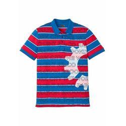 Shirt polo Slim Fit, krótki rękaw bonprix czerwono-lazurowy w paski